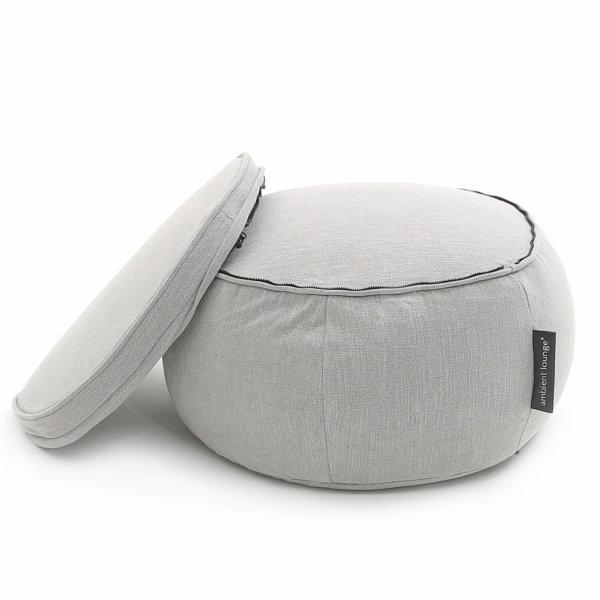 Wing ottoman bean bag in Keystone Grey with cushion unzipped