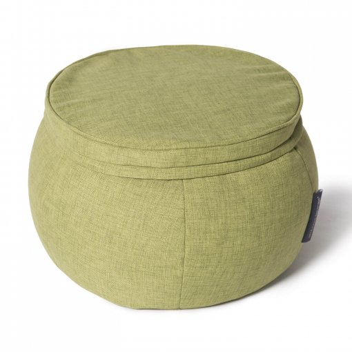 Wing ottoman in lime citrus fabric 34 view