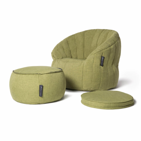 Wing ottoman in lime citrus with butterfly sofa