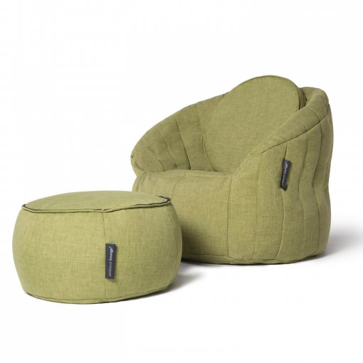 Wing ottoman as back cushion in lime citrus with butterfly sofa