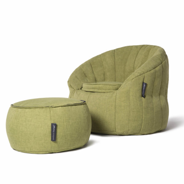 Wing ottoman as horizontal cushion in lime citrus with butterfly sofa