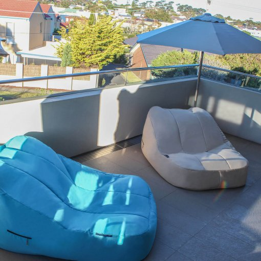yacht club cream and blue sky eclipse satellite twin bean bags