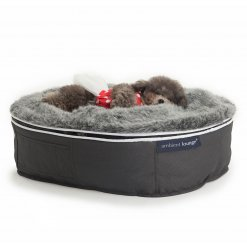 small luxury dog bed with washable faux fur