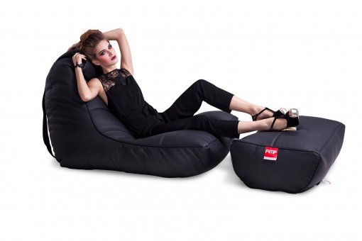 Bonded PU Leather bean bag set in black
