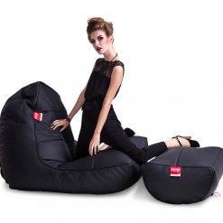 Bonded PU Leather bean bag set in black