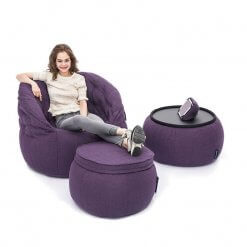 Contemporary Beanbag Lounge Set in Aubergine