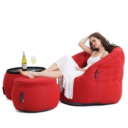 Contemporary Beanbag Lounge Set in Red