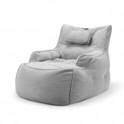 Lounge Armchair Bean Bag in Grey Linen