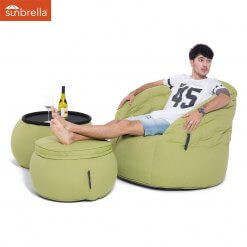 Contemporary Beanbag Lounge Set in Lime Green