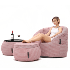 Contempo Beanbag Lounge Set in Raspberry Pink