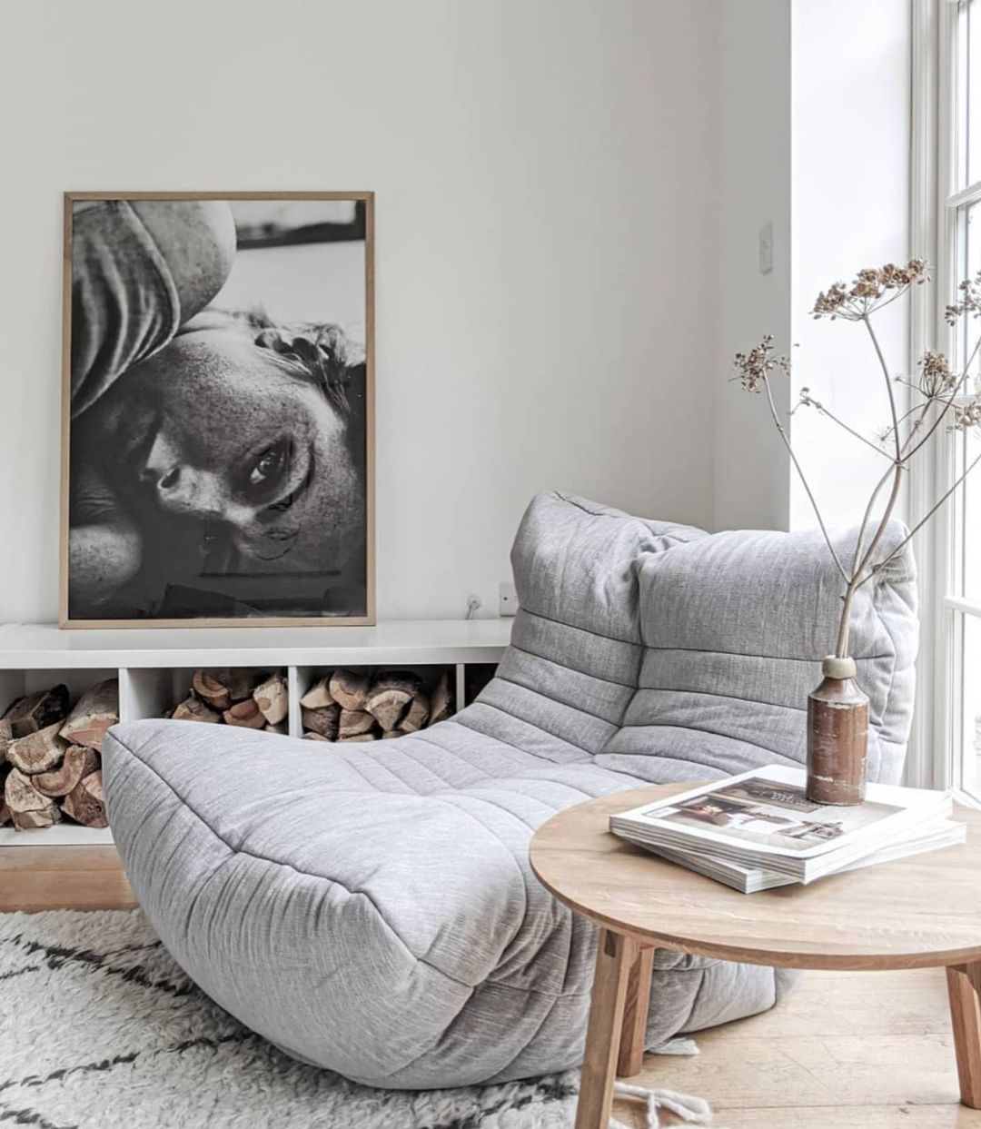 japandi interior design gray bean bag